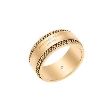 Michael Kors Gold Tone 'Logo Plaque' Frozen Chain Band RIng