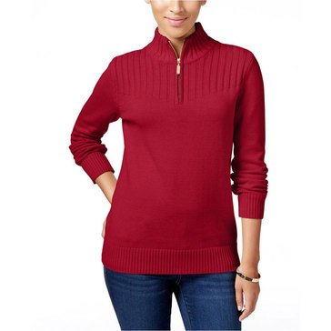 Karen Scott One Quarter Zip Solid Mock Top