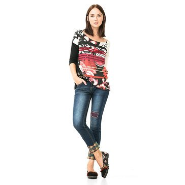 Desigual Long Sleeve Hi/Lo Print Shirt