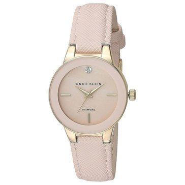 Anne Klein Women's Goldtone and Blush Light Pink Poly Strap Watch 30mm