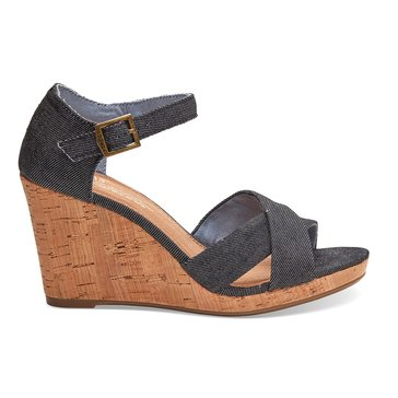 Toms Sienna Women's Wedge Sandal Black Denim