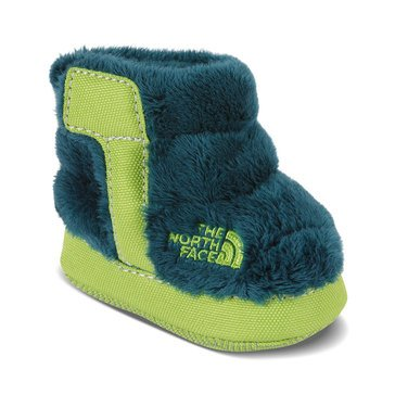 The North Face Baby Boys' Fleece Bootie, Deep Teal Blue/Lime Green