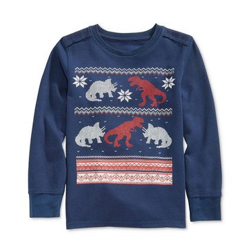 Epic Threads Boys' Intarsia Dino Thermal, Medieval Blue
