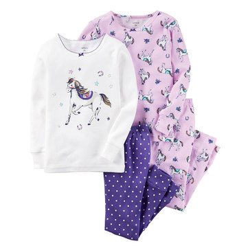 Carter's Baby Girls' 4pc Pony, Sleepwear Set