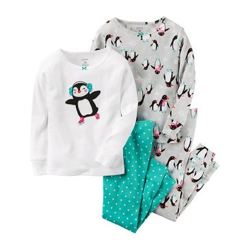 Carter's Baby Girls' 4pc Skating Penguin, Sleepwear Set