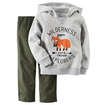 Carter's Toddler Boys' Gray Graphic Hoddie and Green Pants, 2-Piece Set