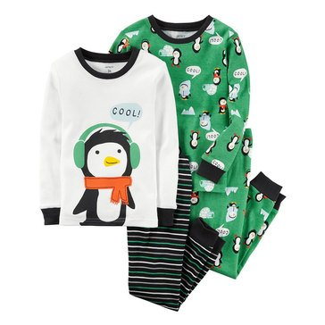 Carter's Toddler Boys' 4-Piece Penguin Pajamas, Green