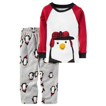 Carter's Toddler Boys' 2-Piece Pinguin Hat Pajamas, White