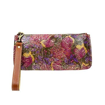Patricia Nash St. Croce Wristlet Metallic Paisley Tooled Lace
