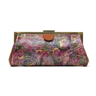 Patricia Nash Athena Frame Clutch in Metallic Paisley Tooled Lace