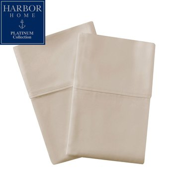 Harbor Home Platinum Collection 500 Thread-Count Pillowcase, Cappuccino - Standard