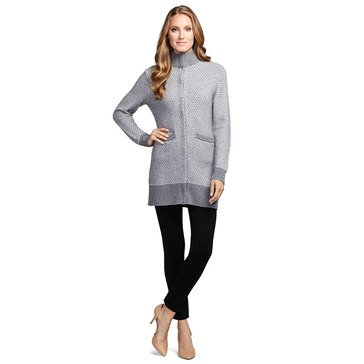 Brooks Brothers Snap Front Sweater Coat in Honeycomb Stitch Grey