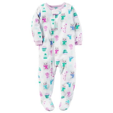 Carter's Baby Girls' Fleece Pajamas, Kitten Sweets