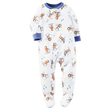 Carter's Baby Boys' Fleece Pajamas, Skiing Monkey