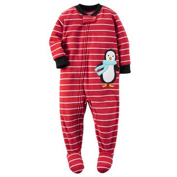 Carter's Baby Boys' Fleece Pajamas, Stripe Penguin