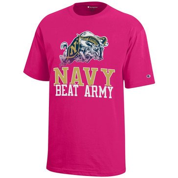 Champion Youth Girl Naval Academy Goat Navy Beat Army Short Sleeve Tee