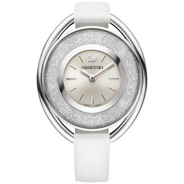 Swarovski Women's Crystalline Oval Watch, White Leather 37mm