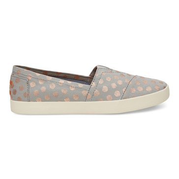 Toms Avalon Women's Slip On Shoe Grey/Gold Foil Polka Dot