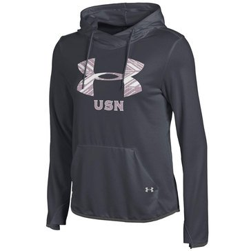Under Armour Women's U.S. Navy French Terry Pull Over Carbon Hoodie