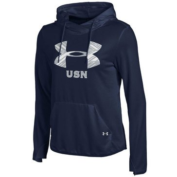 Under Armour Women's  USN  French Terry Pull Over Hoodie Sparkle Shimmer