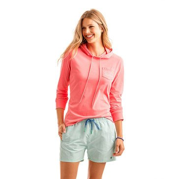Vineyard Vines Long Sleeve Whale Hoodie in Bright Coral