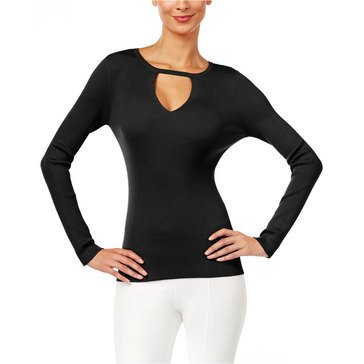INC International Concepts Long Sleeve Cutout Bodice Pullover in Deep Black