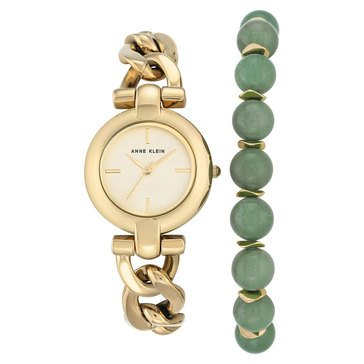 Anne Klein Women's Gold Tone and Jade 2 Piece Boxed Watch and Bracelet Set