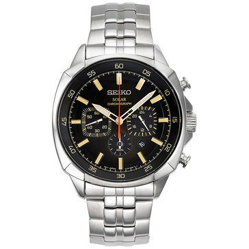Seiko Men's Stainless Steel Solar Chronograph Bracelet Watch 43mm