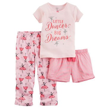Carter's Little Girls' 3-Piece Poly Ballerina Pajama Set