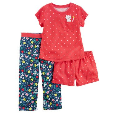 Carter's Little Girls' 3-Piece Poly Dot Flower Pajama Set
