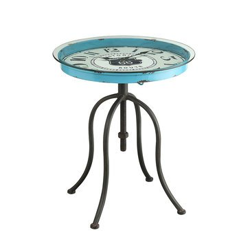 Round Clock End Table, Blue
