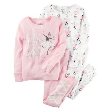 Carter's Little Girls' 4-Piece Cotton Ballerina Print Pajama Set