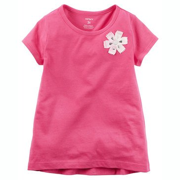 Carter's Toddler Girls' Solid Rosette Tee, Pink