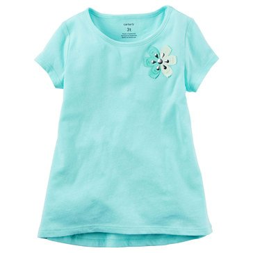 Carter's Toddler Girls' Solid Rosette Tee, Mint