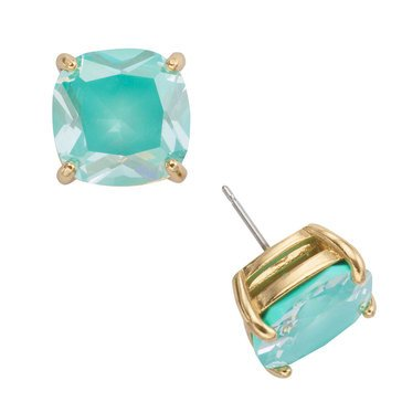 Kate Spade Gold Tone Enamel Small Square Mint Studs