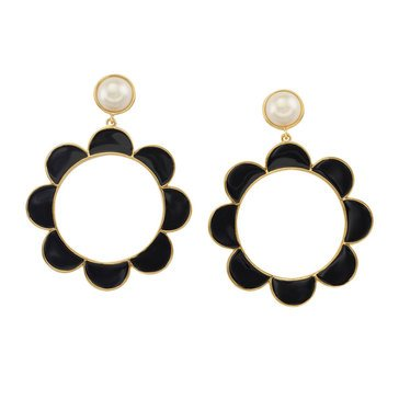 Kate Spade Gold Tone 'Taking Shapes' Black Scallop Drop Hoop Earrings