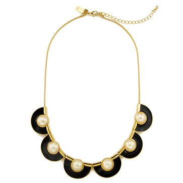 Kate Spade Gold Tone 'Taking Shapes' Black Scallop Short Necklace