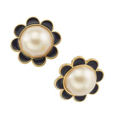 Kate Spade Gold Tone 'Taking Shapes' Faux Black Scallops Stud Earrings