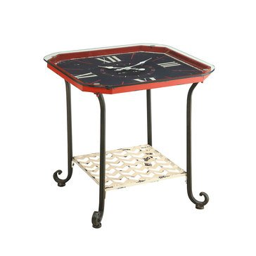 Octagon Clock End Table, Red