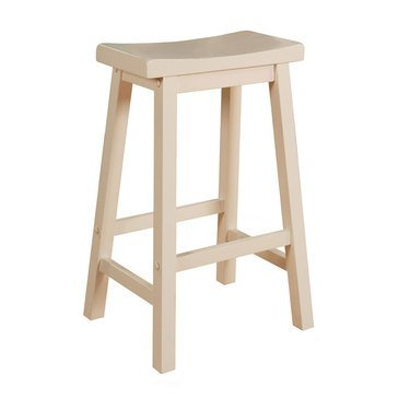 Saddle Bar Stool, White