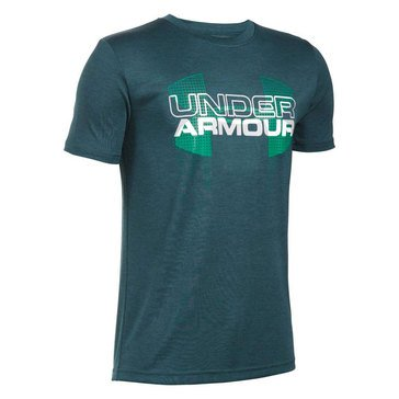 Under Armour Big Boys' Big Logo Hybrid Tee, Nova Teal