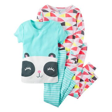 Carter's Toddler Girls' 4-Piece Cotton Panda Face Pajama Set