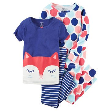 Carter's Toddler Girls' 4-Piece Cotton Fox Face Pajama Set