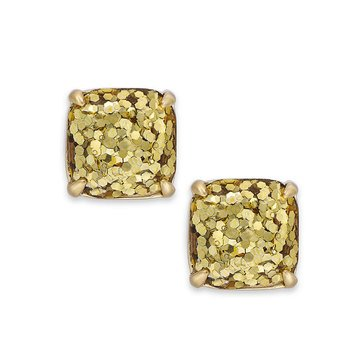 Kate Spade Gold Tone Small Square Gold Glitter Stud Earrings