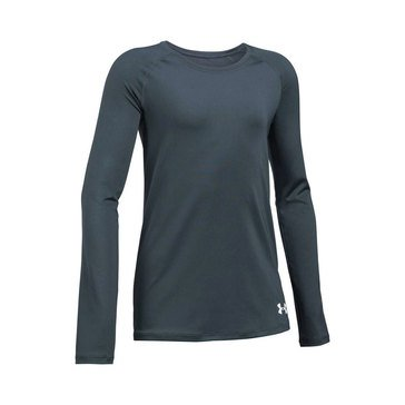 Under Armour Big Girls' Solid Top, Stealth Grey