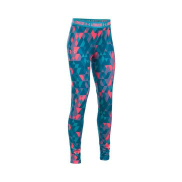 Under Armour Big Girls' Print Leggings, Pacific Blue