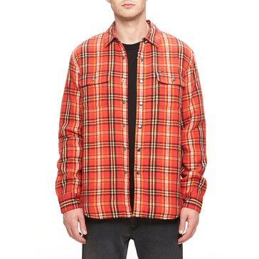Obey Men's Liam Jacket Plaid Flannel Sherpa Shirt