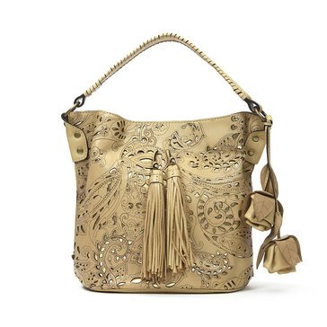 Patricia Nash Otavia Bucket With Rose Fob Wintage Laser Lace Wheat