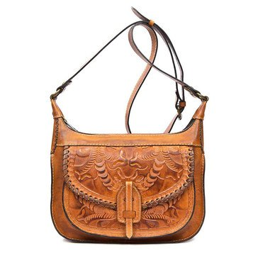 Patricia Nash Camila Zip Square Hobo Crossbody Burnished Tooled Gold