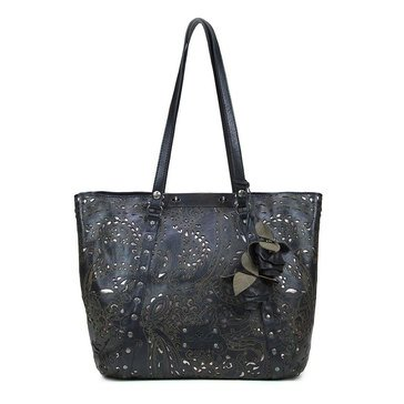 Patricia Nash Benvenuto Convertible Tote With Rose Fob Vintage Laser Lace Black
